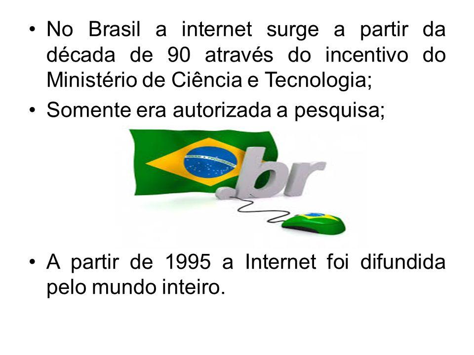 No Brasil a internet surge a partir da década de 90 através do incentivo do Ministério de Ciência e Tecnologia;