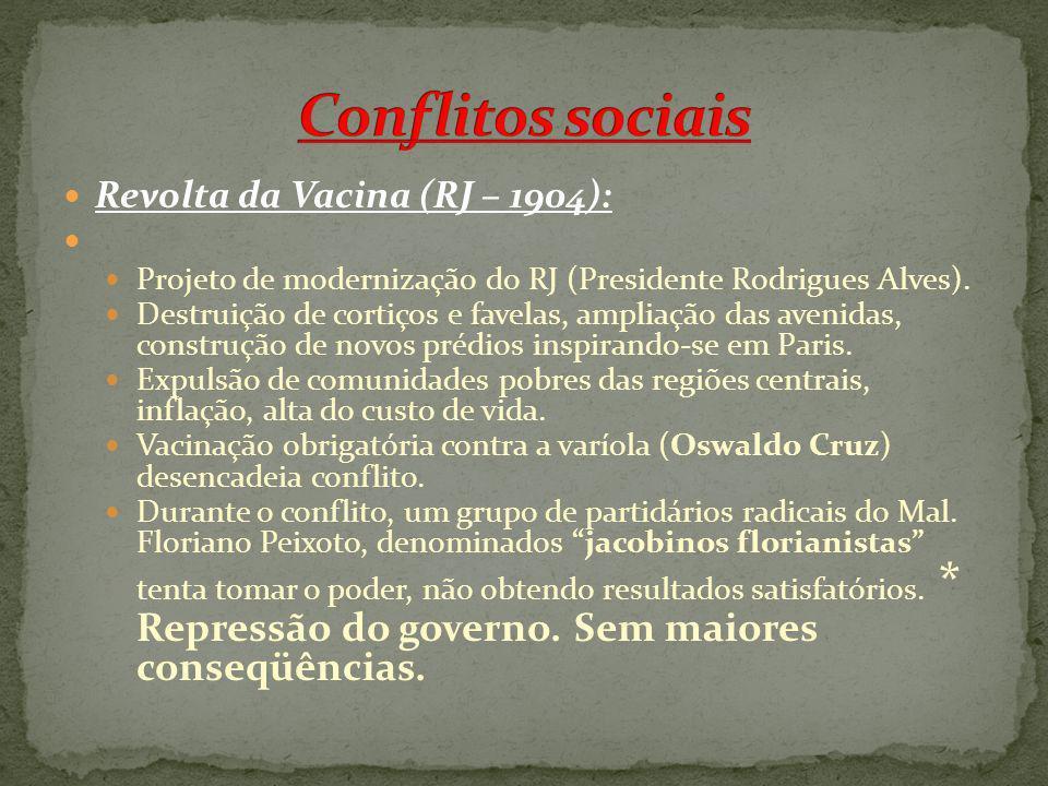 Conflitos sociais Revolta da Vacina (RJ – 1904):
