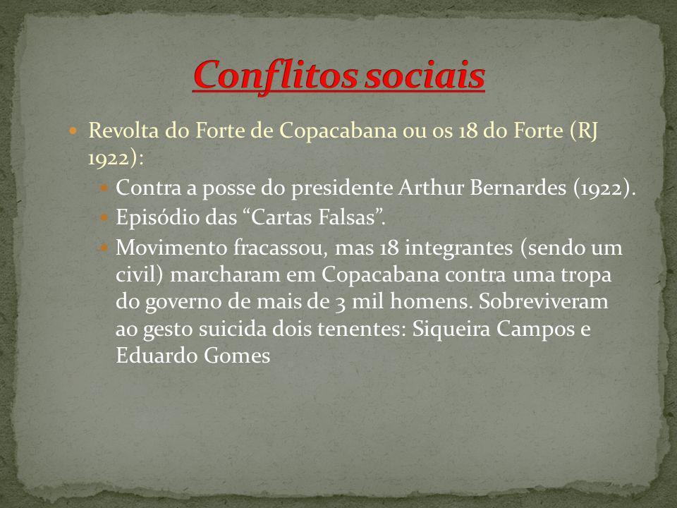 Conflitos sociais Revolta do Forte de Copacabana ou os 18 do Forte (RJ 1922): Contra a posse do presidente Arthur Bernardes (1922).