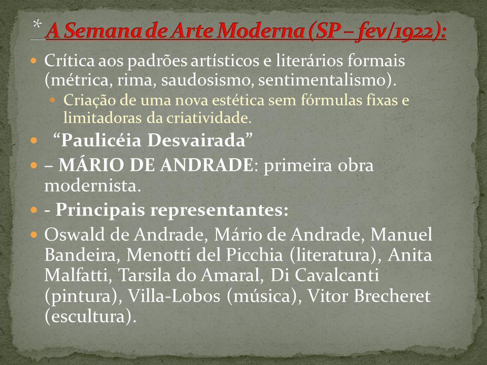 * A Semana de Arte Moderna (SP – fev/1922):