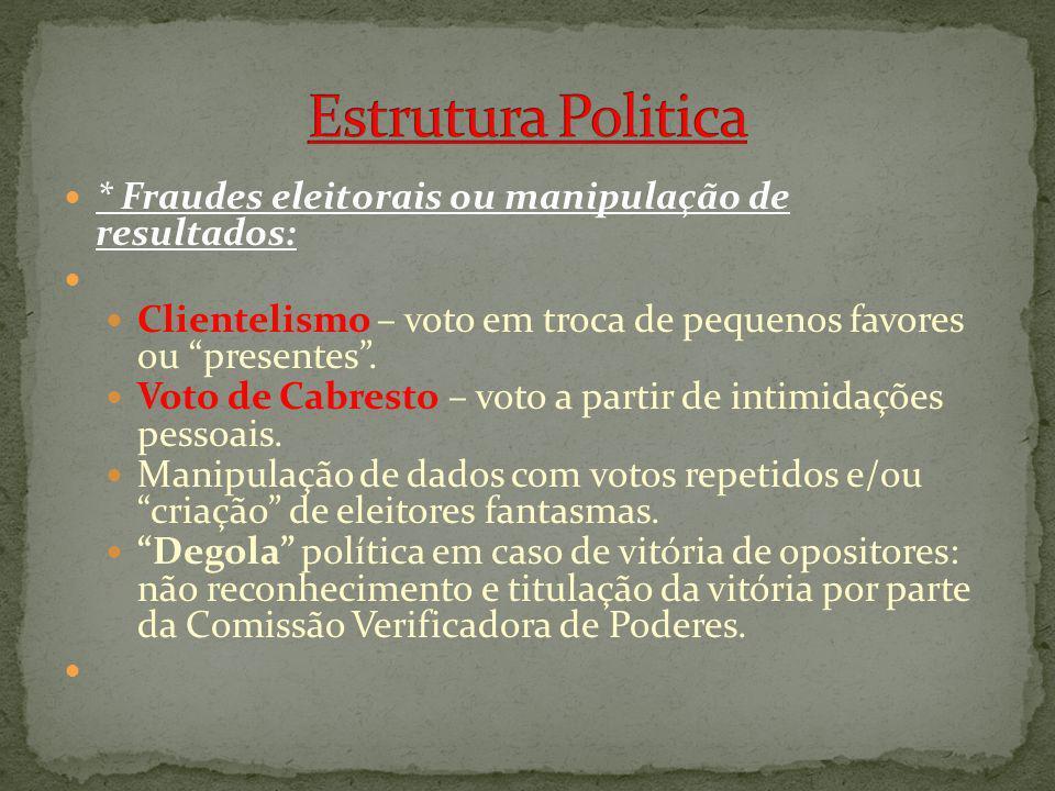 Estrutura Politica * Fraudes eleitorais ou manipulação de resultados: