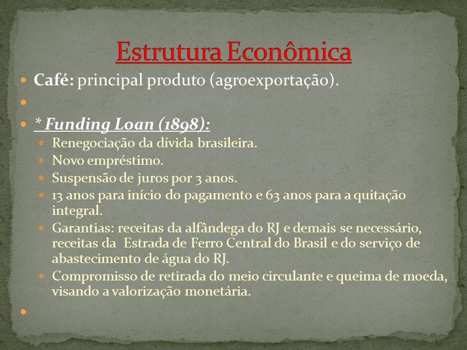 Estrutura Econômica Café: principal produto (agroexportação).