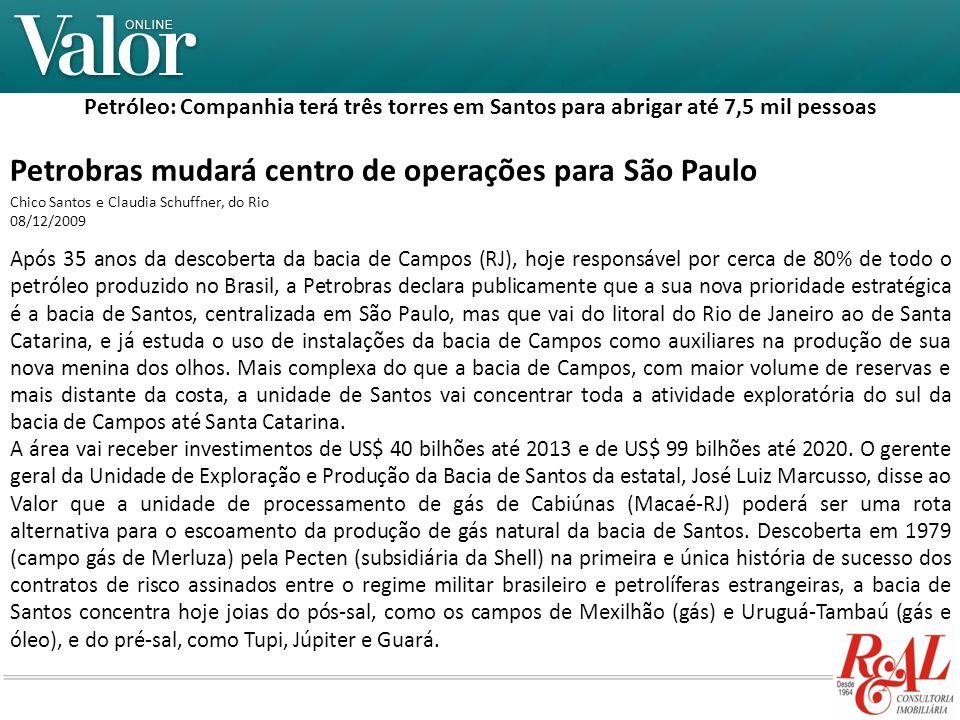 Petrobras mudará centro de operações para São Paulo