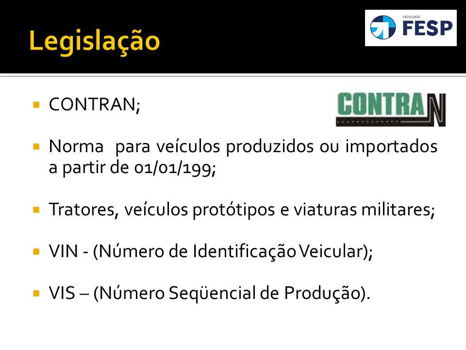 Legislação CONTRAN; Norma para veículos produzidos ou importados a partir de 01/01/199; Tratores, veículos protótipos e viaturas militares;