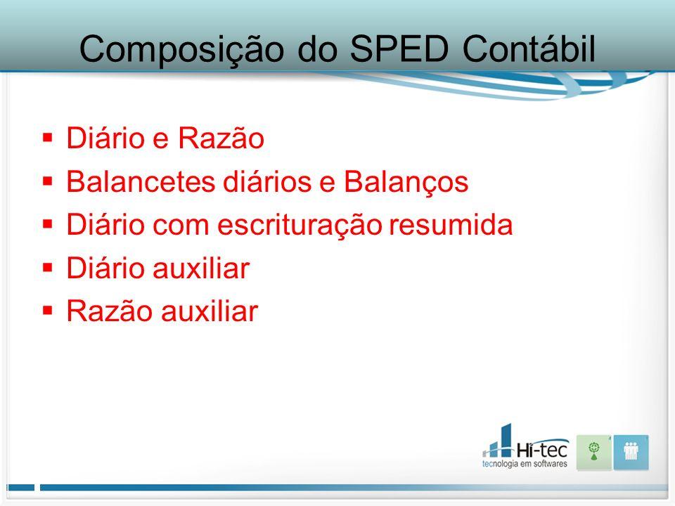 Composição do SPED Contábil
