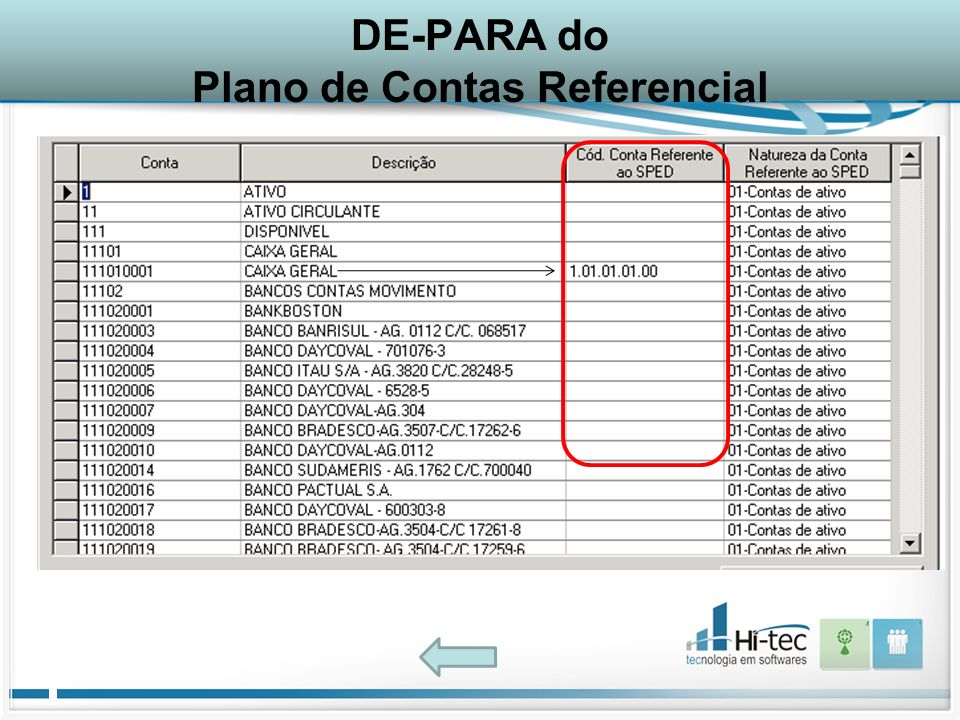 DE-PARA do Plano de Contas Referencial