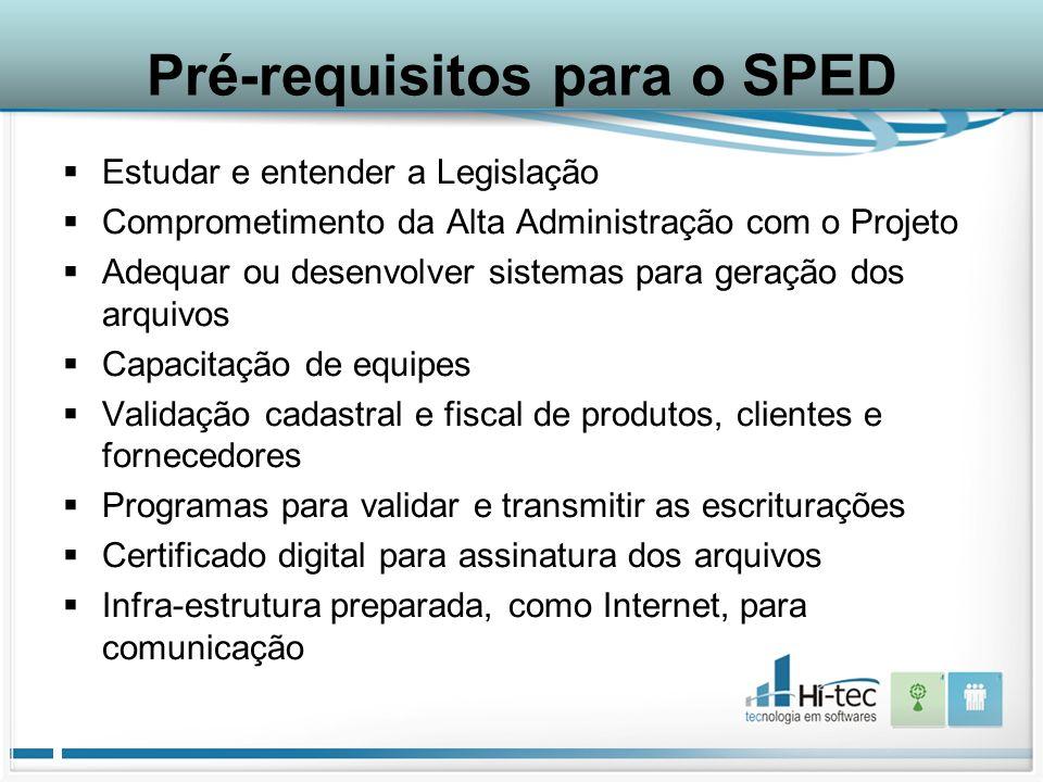 Pré-requisitos para o SPED