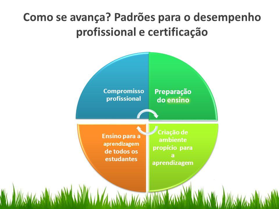 Como se avança Padrões para o desempenho profissional e certificação