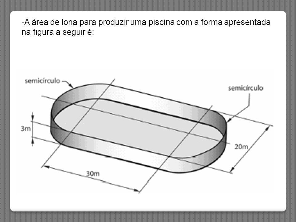 -A área de lona para produzir uma piscina com a forma apresentada na figura a seguir é: