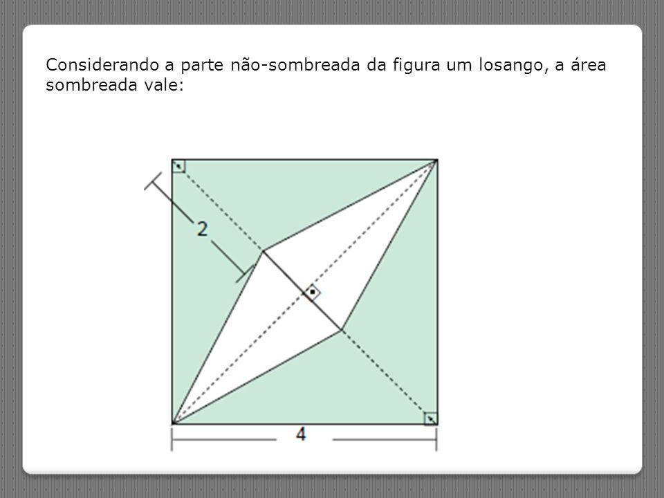 (PUC-PR) Considerando a parte não-sombreada da figura um losango, a área sombreada vale: