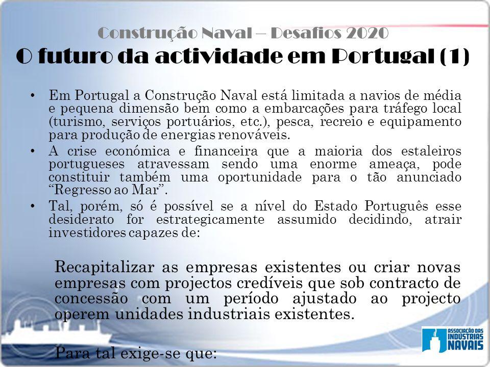 Construção Naval – Desafios 2020 O futuro da actividade em Portugal (1)