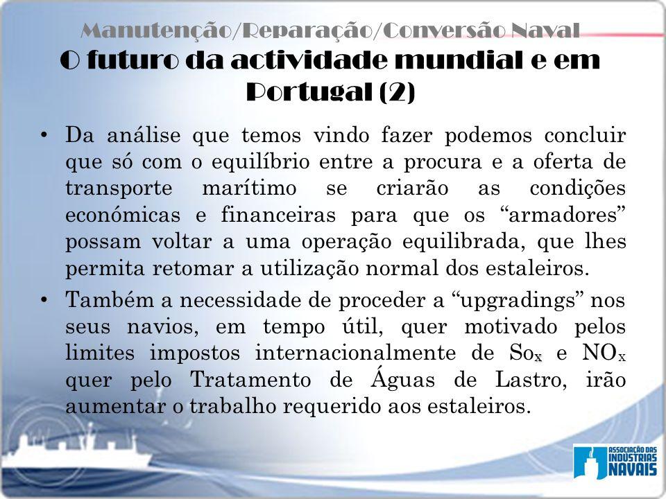 Manutenção/Reparação/Conversão Naval O futuro da actividade mundial e em Portugal (2)