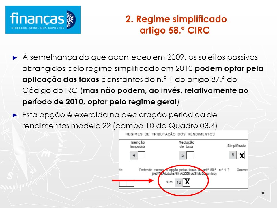 2. Regime simplificado artigo 58.º CIRC