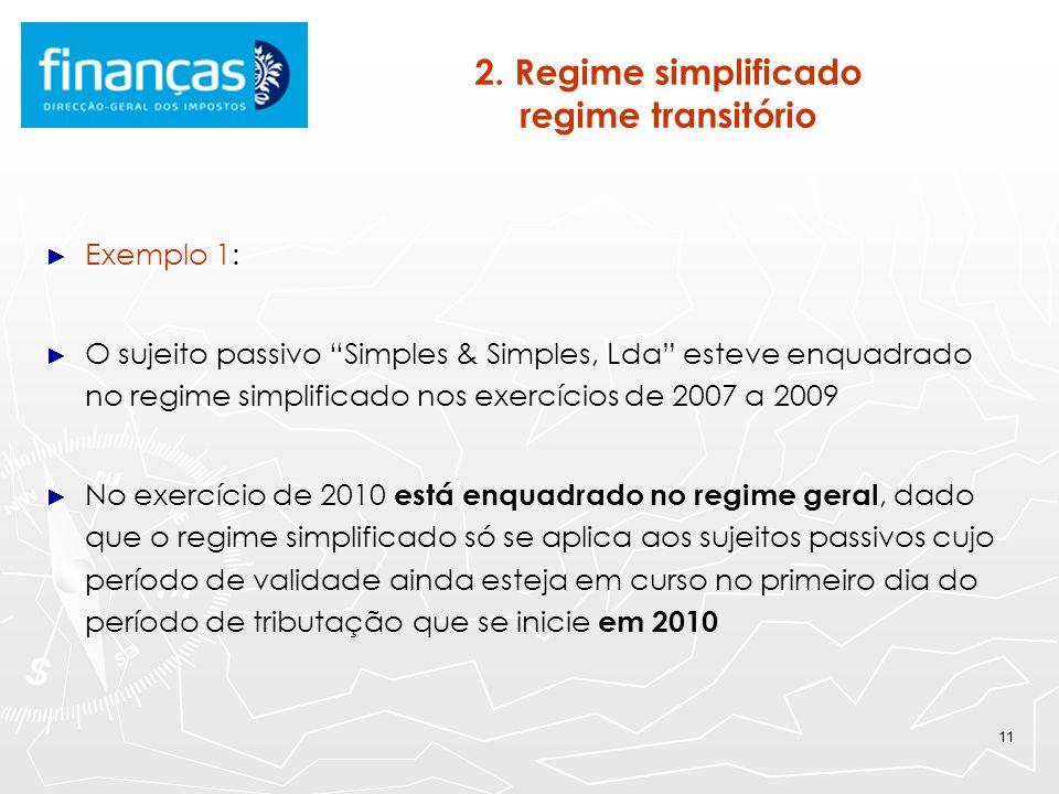 2. Regime simplificado regime transitório