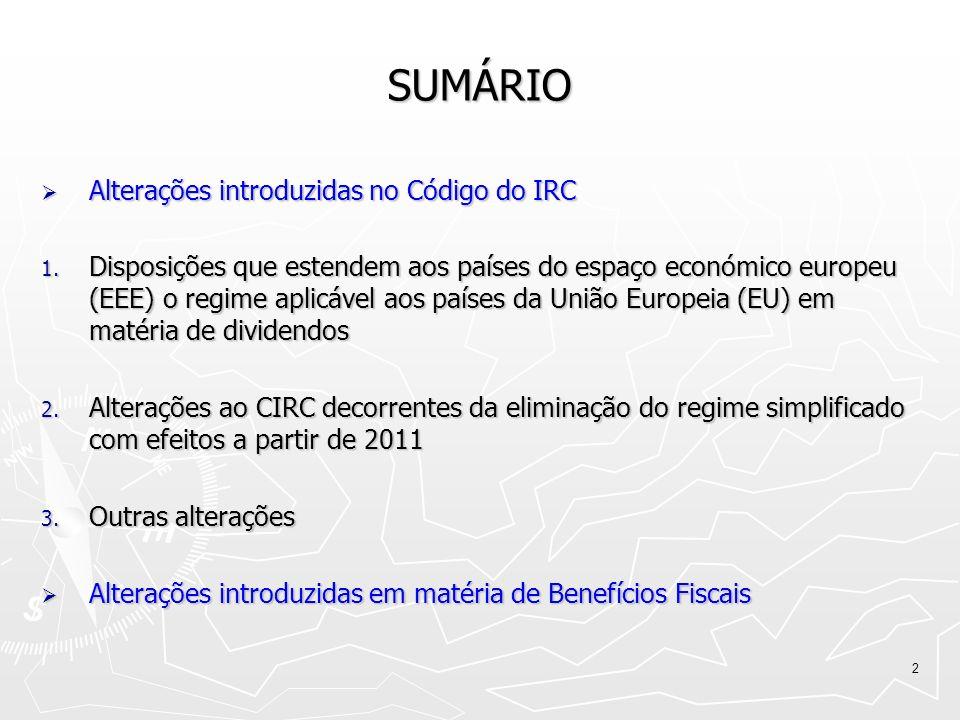 SUMÁRIO Alterações introduzidas no Código do IRC