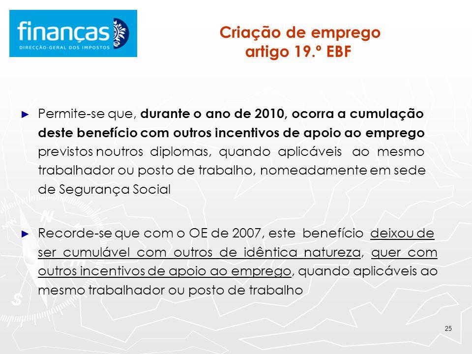 Criação de emprego artigo 19.º EBF