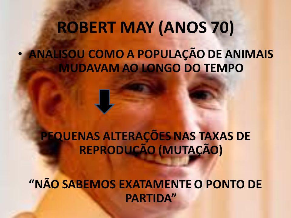 ROBERT MAY (ANOS 70) ANALISOU COMO A POPULAÇÃO DE ANIMAIS MUDAVAM AO LONGO DO TEMPO. PEQUENAS ALTERAÇÕES NAS TAXAS DE REPRODUÇÃO (MUTAÇÃO)