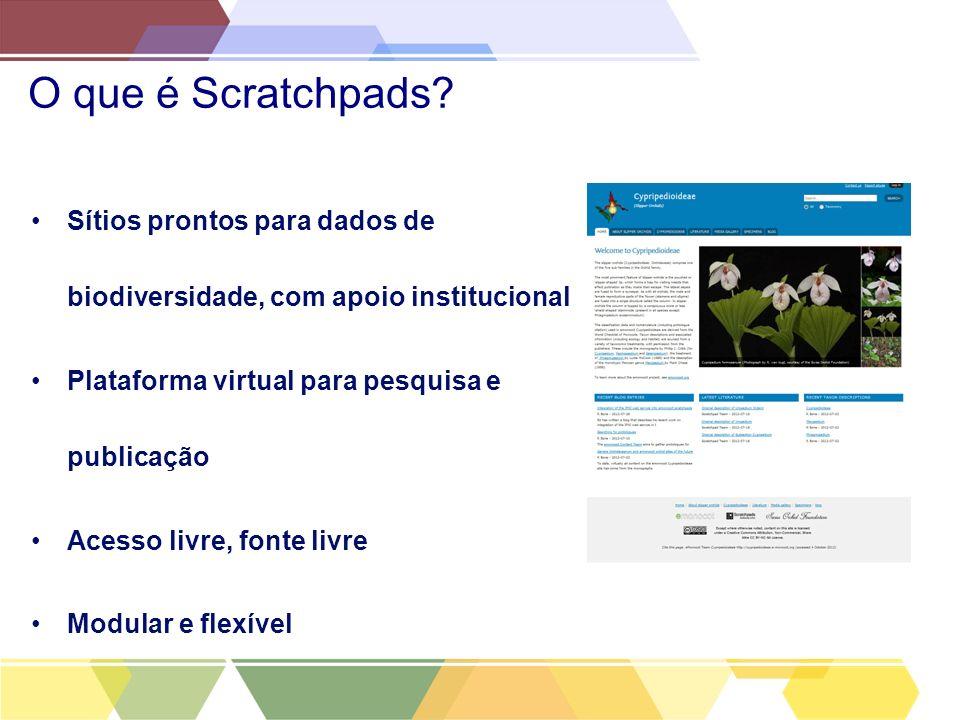 O que é Scratchpads Sítios prontos para dados de biodiversidade, com apoio institucional. Plataforma virtual para pesquisa e publicação.
