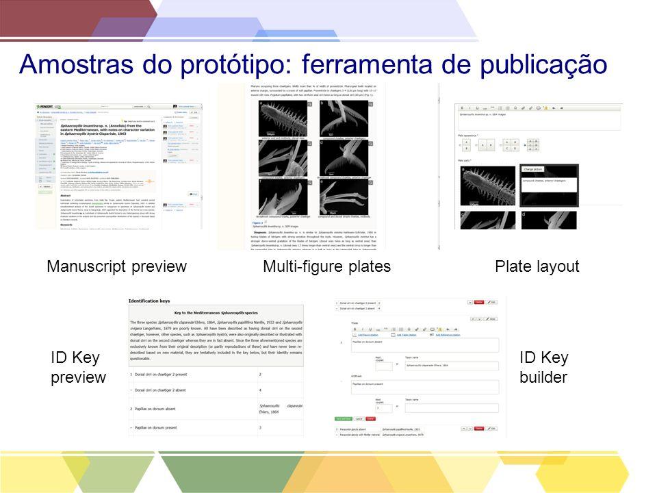 Amostras do protótipo: ferramenta de publicação