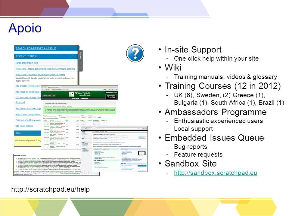 Apoio In-site Support Wiki Training Courses (12 in 2012)