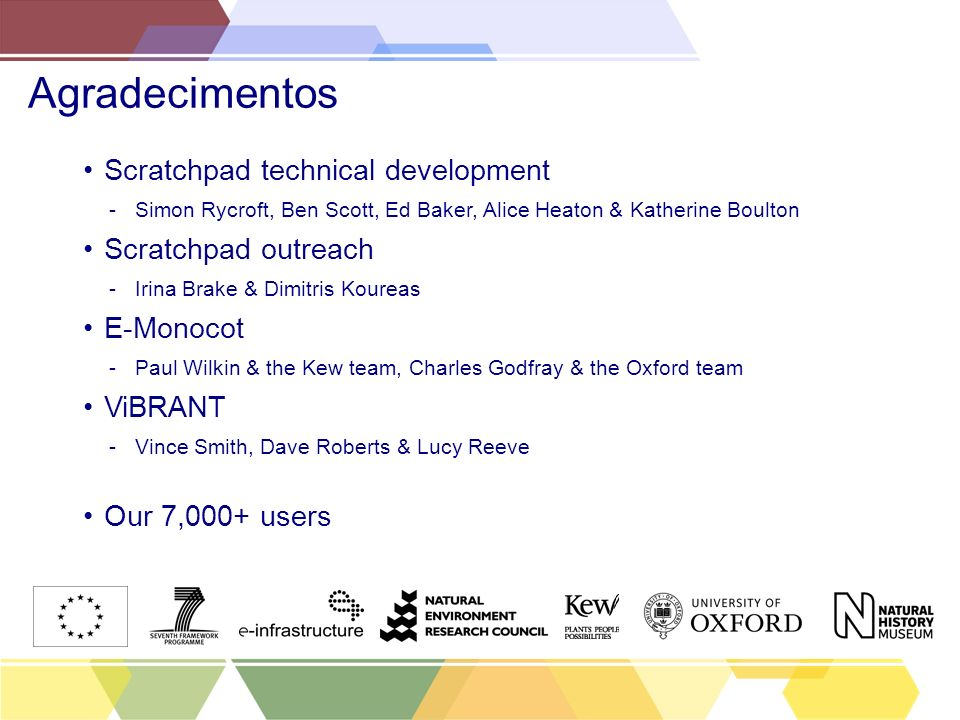 Agradecimentos Scratchpad technical development Scratchpad outreach