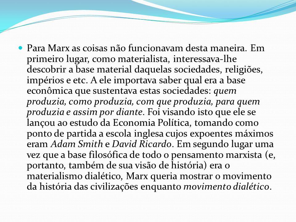 Para Marx as coisas não funcionavam desta maneira