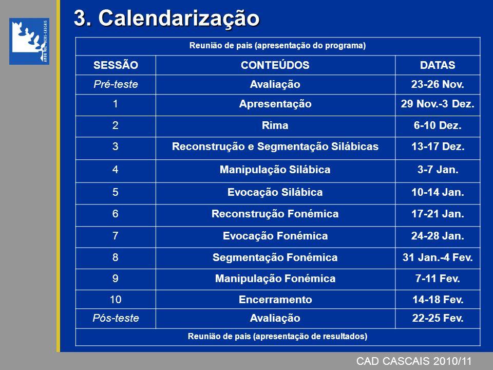 3. Calendarização SESSÃO CONTEÚDOS DATAS Pré-teste Avaliação