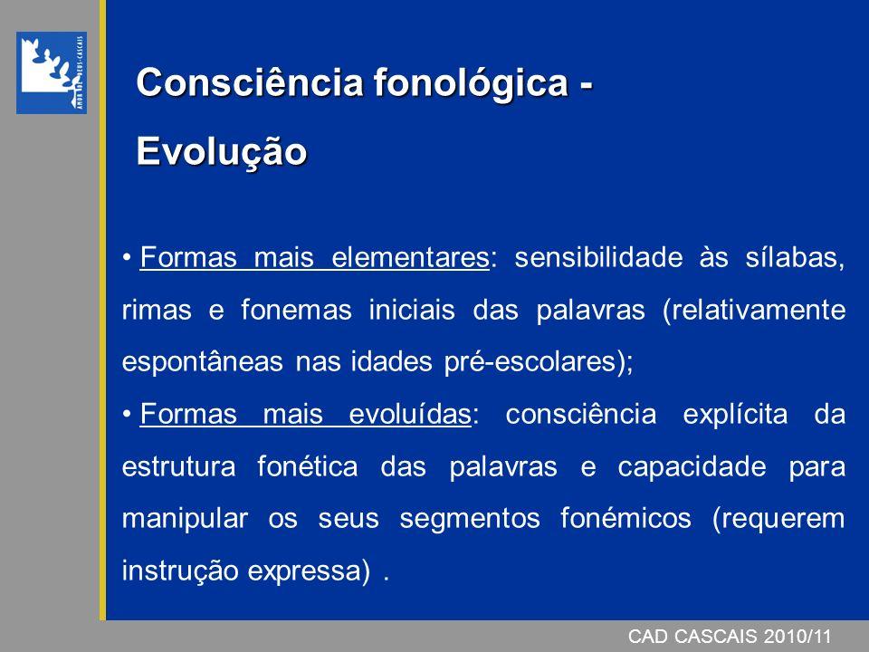 Consciência fonológica -Evolução