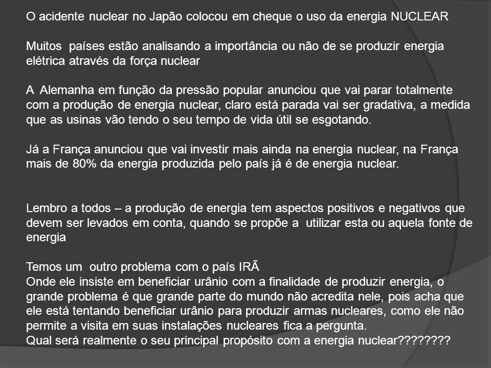 O acidente nuclear no Japão colocou em cheque o uso da energia NUCLEAR