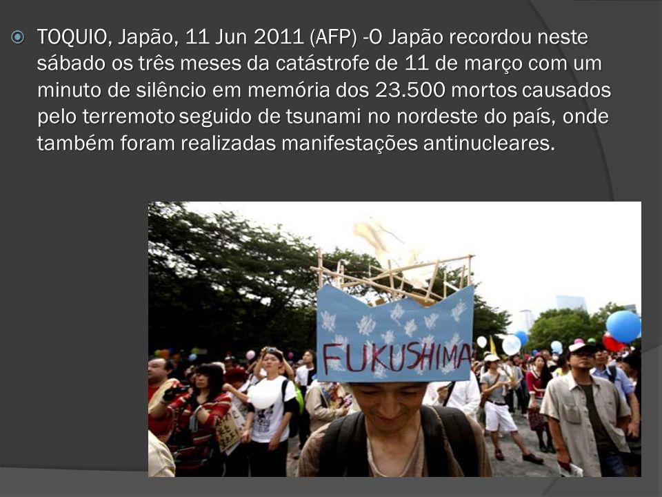 TOQUIO, Japão, 11 Jun 2011 (AFP) -O Japão recordou neste sábado os três meses da catástrofe de 11 de março com um minuto de silêncio em memória dos 23.500 mortos causados pelo terremoto seguido de tsunami no nordeste do país, onde também foram realizadas manifestações antinucleares.