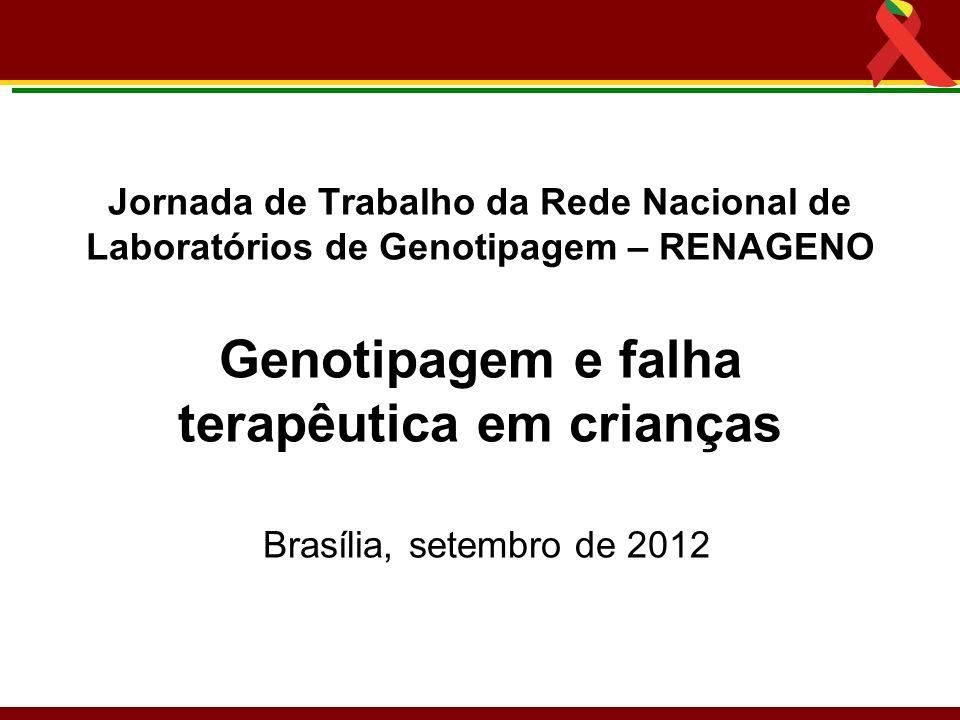 Jornada de Trabalho da Rede Nacional de Laboratórios de Genotipagem – RENAGENO Genotipagem e falha terapêutica em crianças Brasília, setembro de 2012