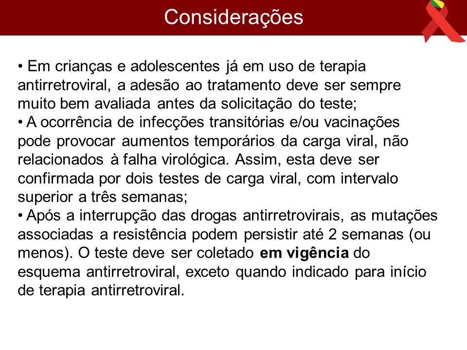 Considerações • Em crianças e adolescentes já em uso de terapia