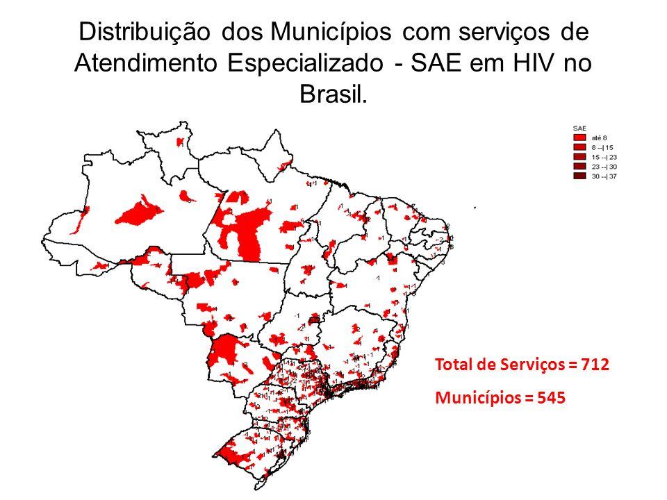 Distribuição dos Municípios com serviços de Atendimento Especializado - SAE em HIV no Brasil.