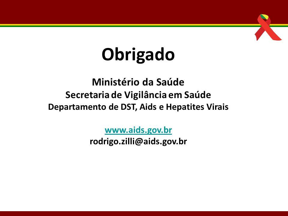 Obrigado Ministério da Saúde Secretaria de Vigilância em Saúde Departamento de DST, Aids e Hepatites Virais.