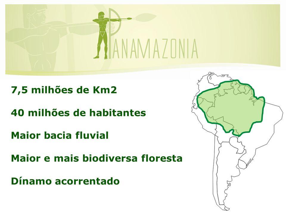 7,5 milhões de Km2 40 milhões de habitantes. Maior bacia fluvial. Maior e mais biodiversa floresta.
