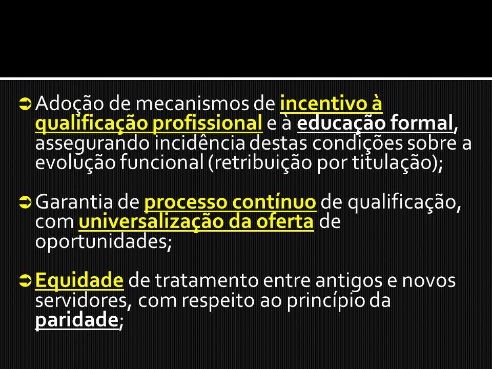 Adoção de mecanismos de incentivo à qualificação profissional e à educação formal, assegurando incidência destas condições sobre a evolução funcional (retribuição por titulação);