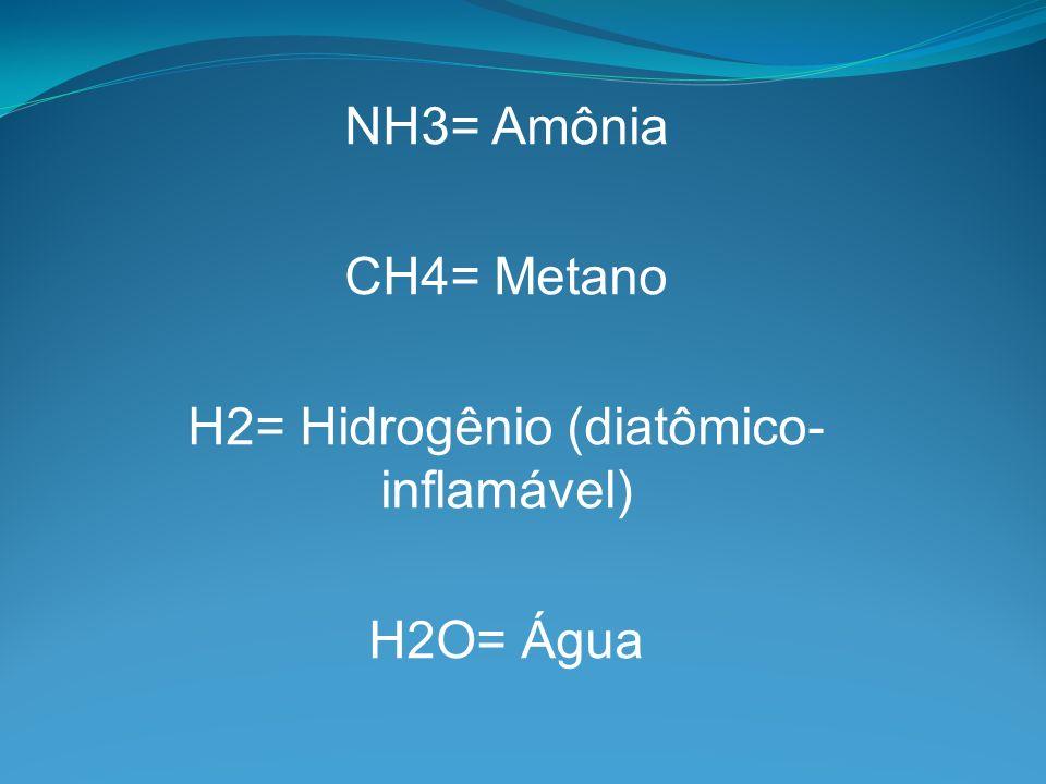 H2= Hidrogênio (diatômico- inflamável)