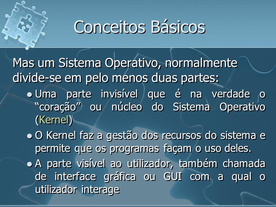 Conceitos Básicos Mas um Sistema Operativo, normalmente divide-se em pelo menos duas partes:
