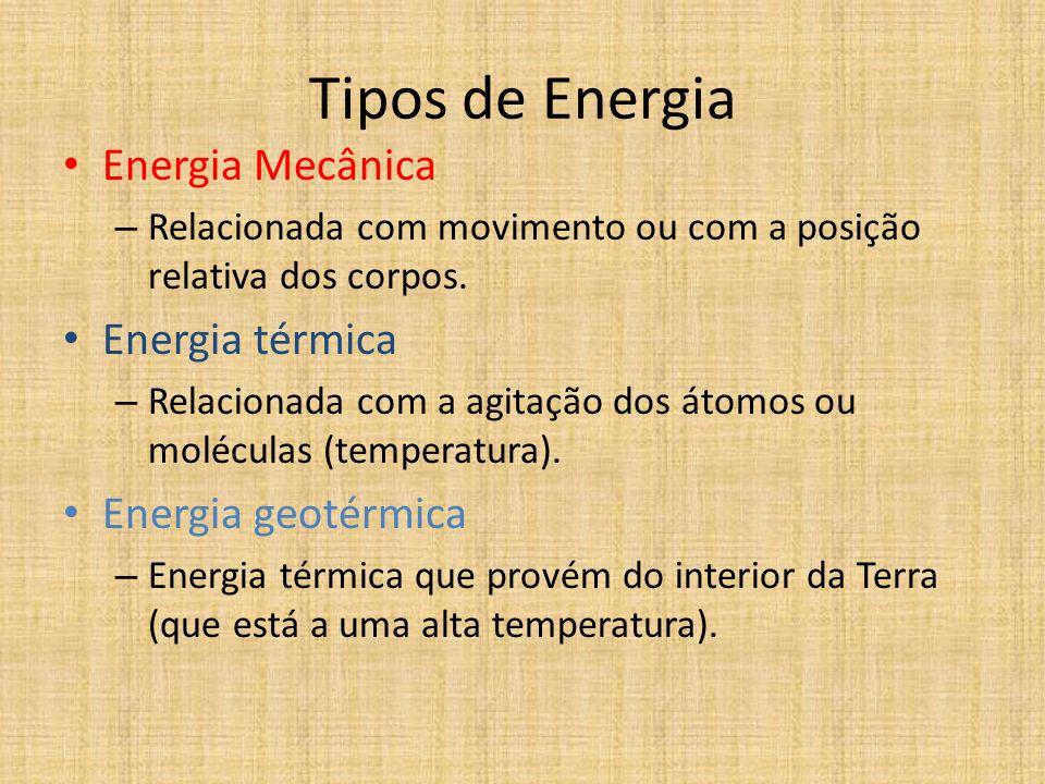 Tipos de Energia Energia Mecânica Energia térmica Energia geotérmica