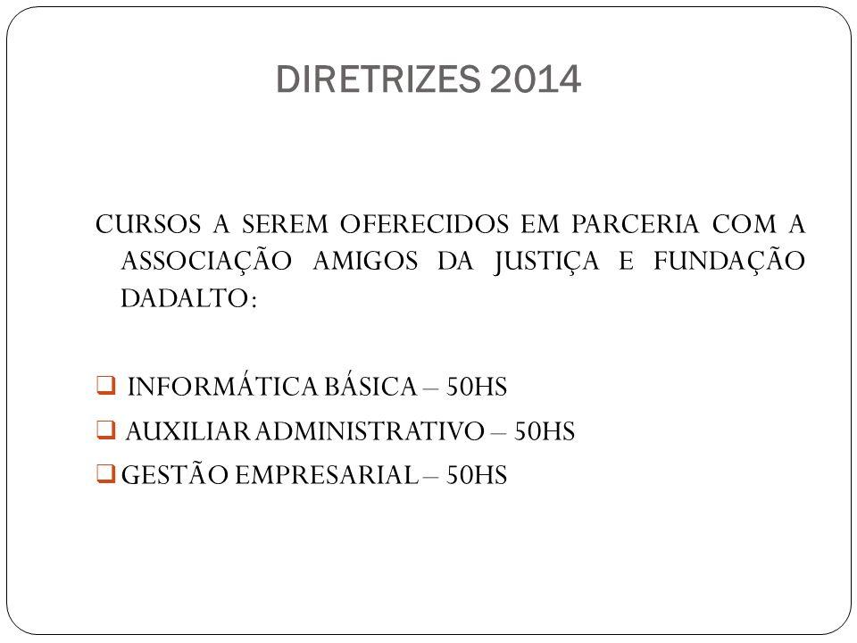 DIRETRIZES 2014 CURSOS A SEREM OFERECIDOS EM PARCERIA COM A ASSOCIAÇÃO AMIGOS DA JUSTIÇA E FUNDAÇÃO DADALTO: