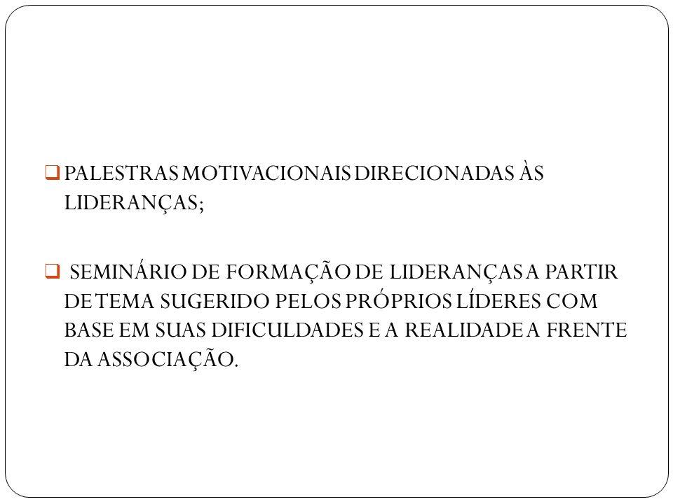 PALESTRAS MOTIVACIONAIS DIRECIONADAS ÀS LIDERANÇAS;