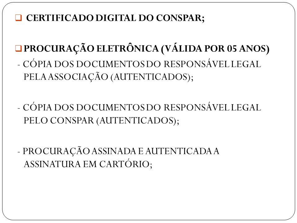 CERTIFICADO DIGITAL DO CONSPAR;