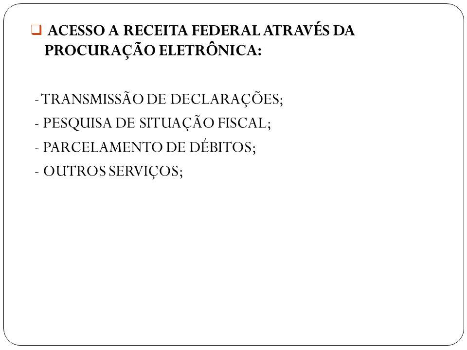 ACESSO A RECEITA FEDERAL ATRAVÉS DA PROCURAÇÃO ELETRÔNICA: