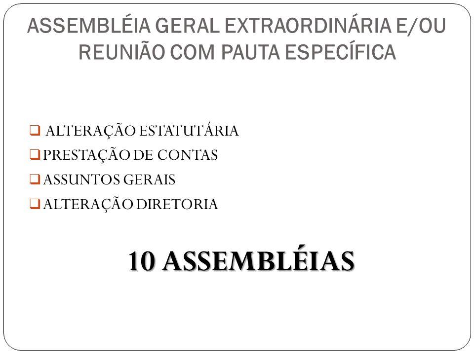 ASSEMBLÉIA GERAL EXTRAORDINÁRIA E/OU REUNIÃO COM PAUTA ESPECÍFICA