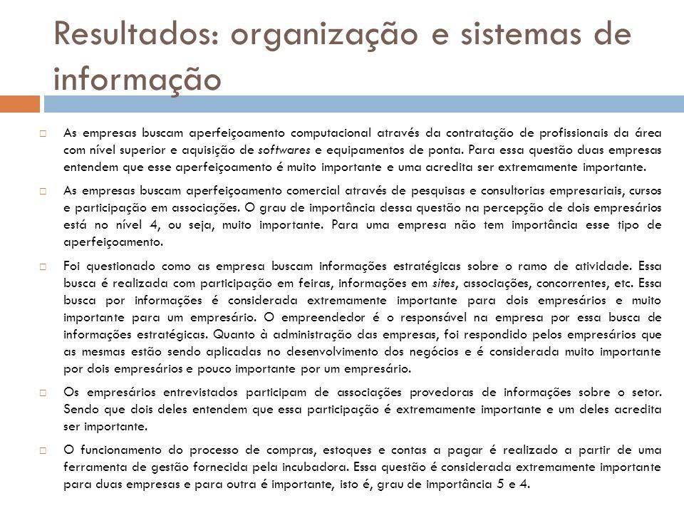 Resultados: organização e sistemas de informação