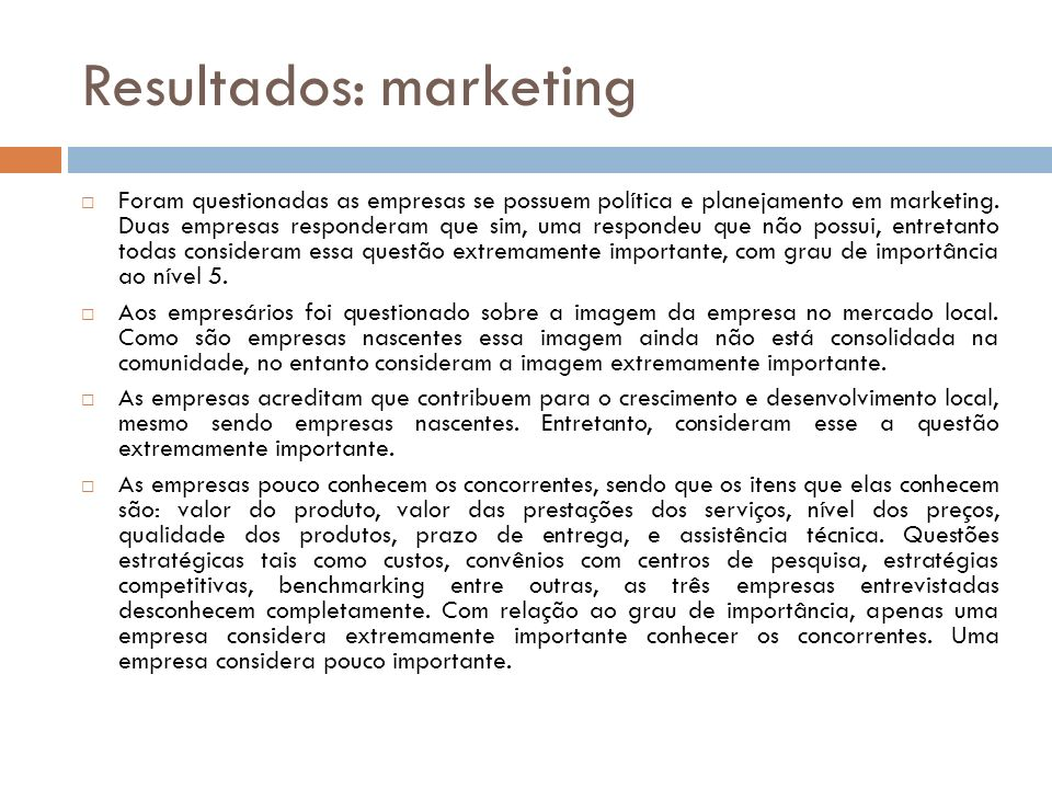 Resultados: marketing