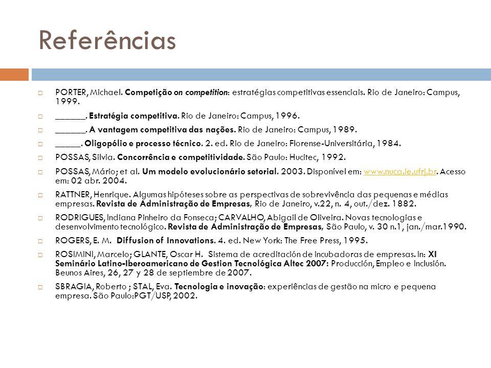 Referências PORTER, Michael. Competição on competition: estratégias competitivas essenciais. Rio de Janeiro: Campus, 1999.