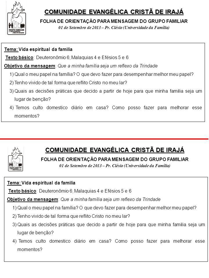 COMUNIDADE EVANGÉLICA CRISTÃ DE IRAJÁ