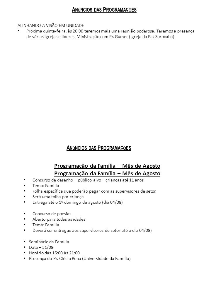 Programação da Família – Mês de Agosto