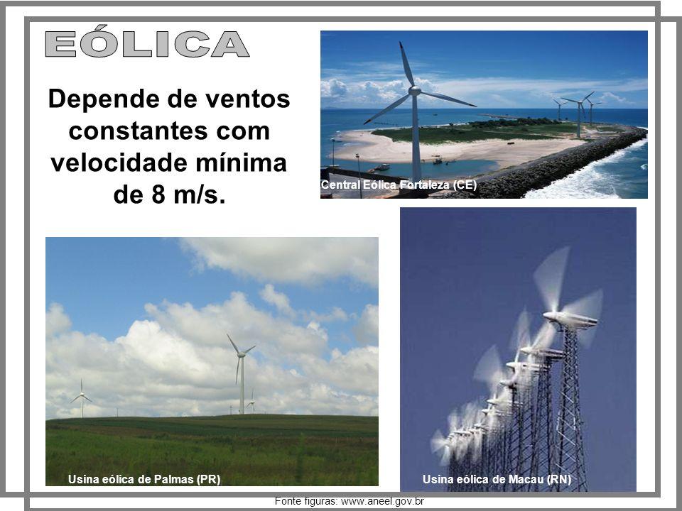 Depende de ventos constantes com velocidade mínima de 8 m/s.